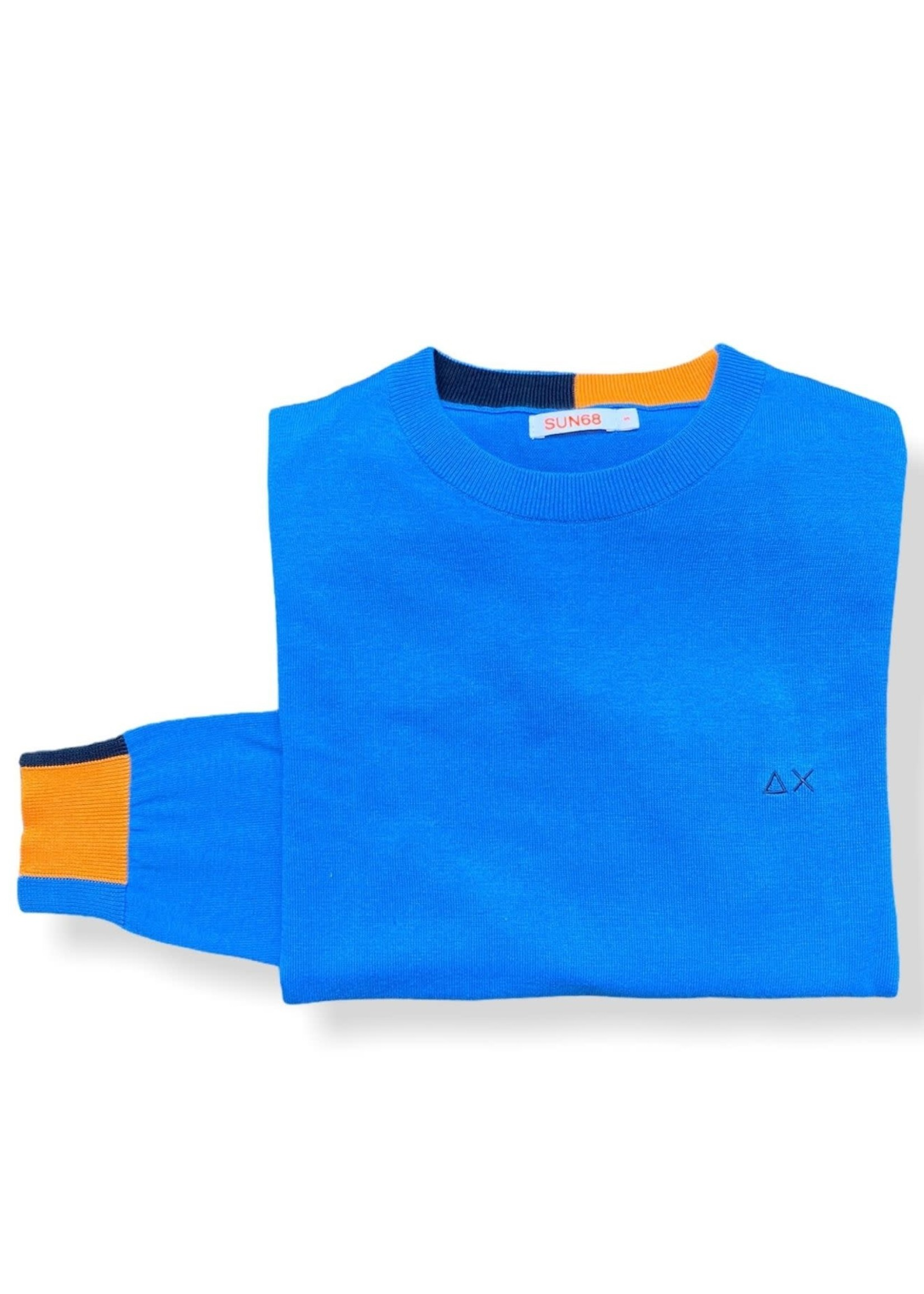 SUN68 Round Neck Patch Rib | Bleu | SUN68