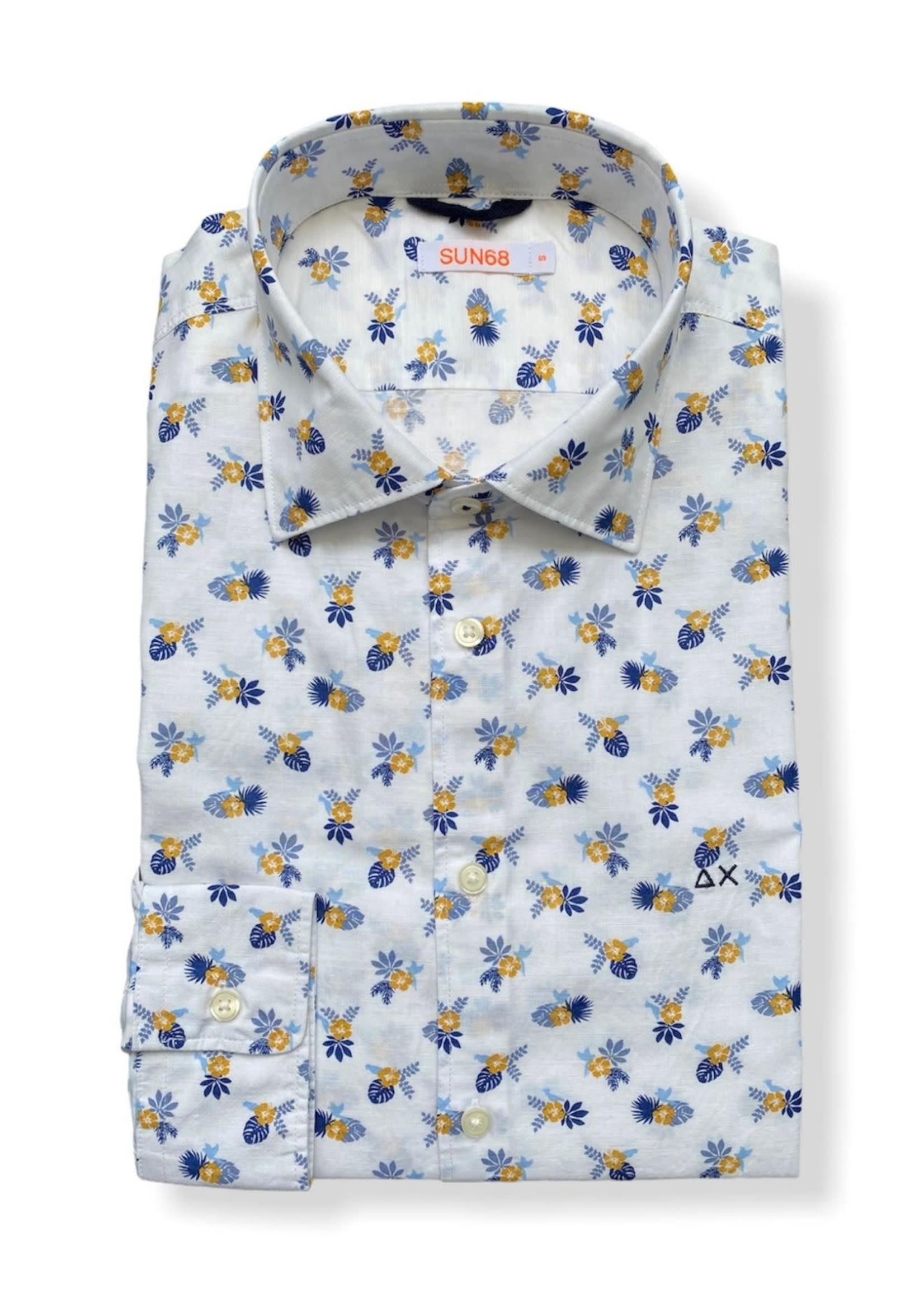 SUN68 Floral printed shirt | White | SUN68