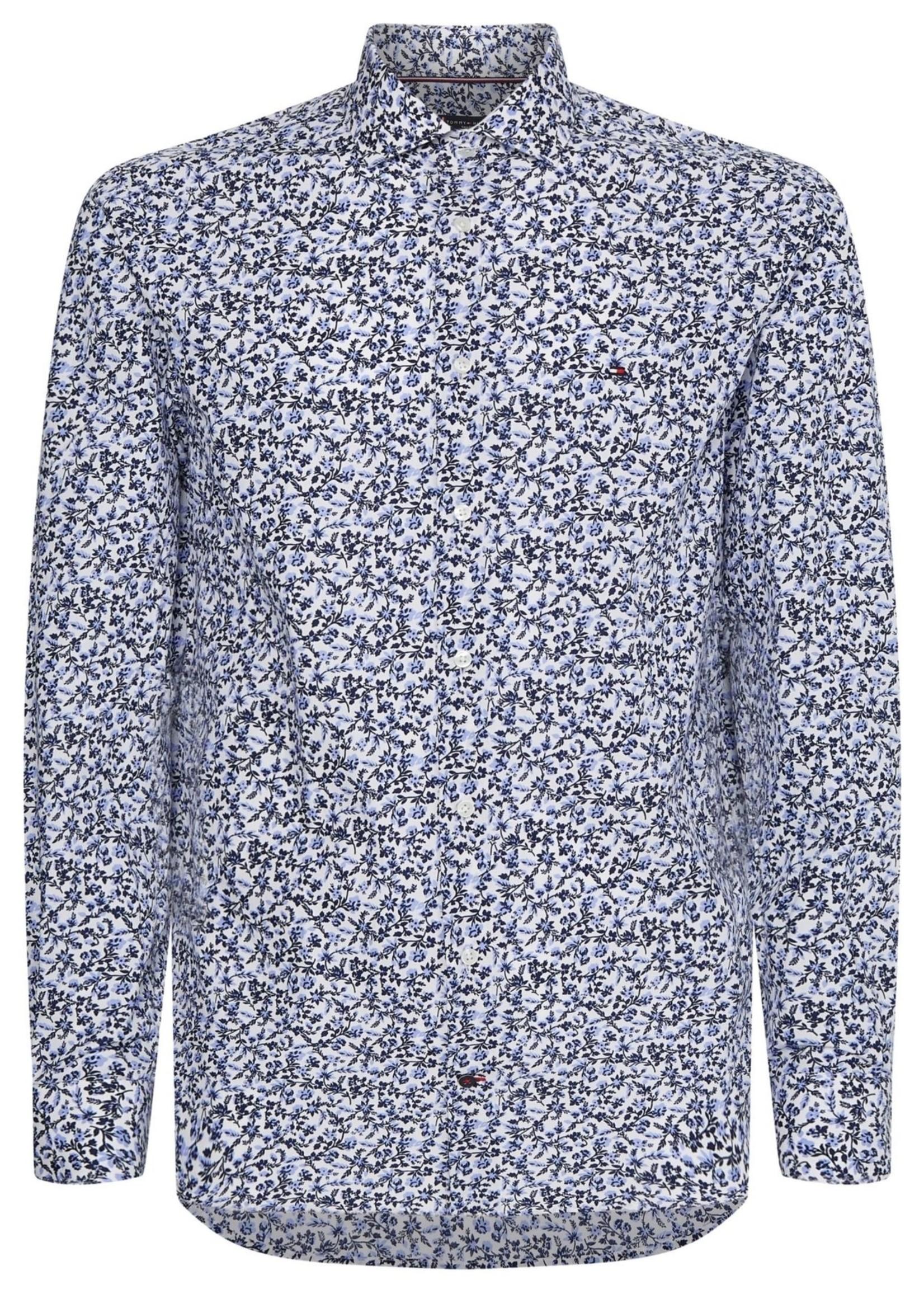 Tommy Hilfiger Large Floral Print Slim Shirt | Light Blue/White/Navy | Tommy Hilfiger