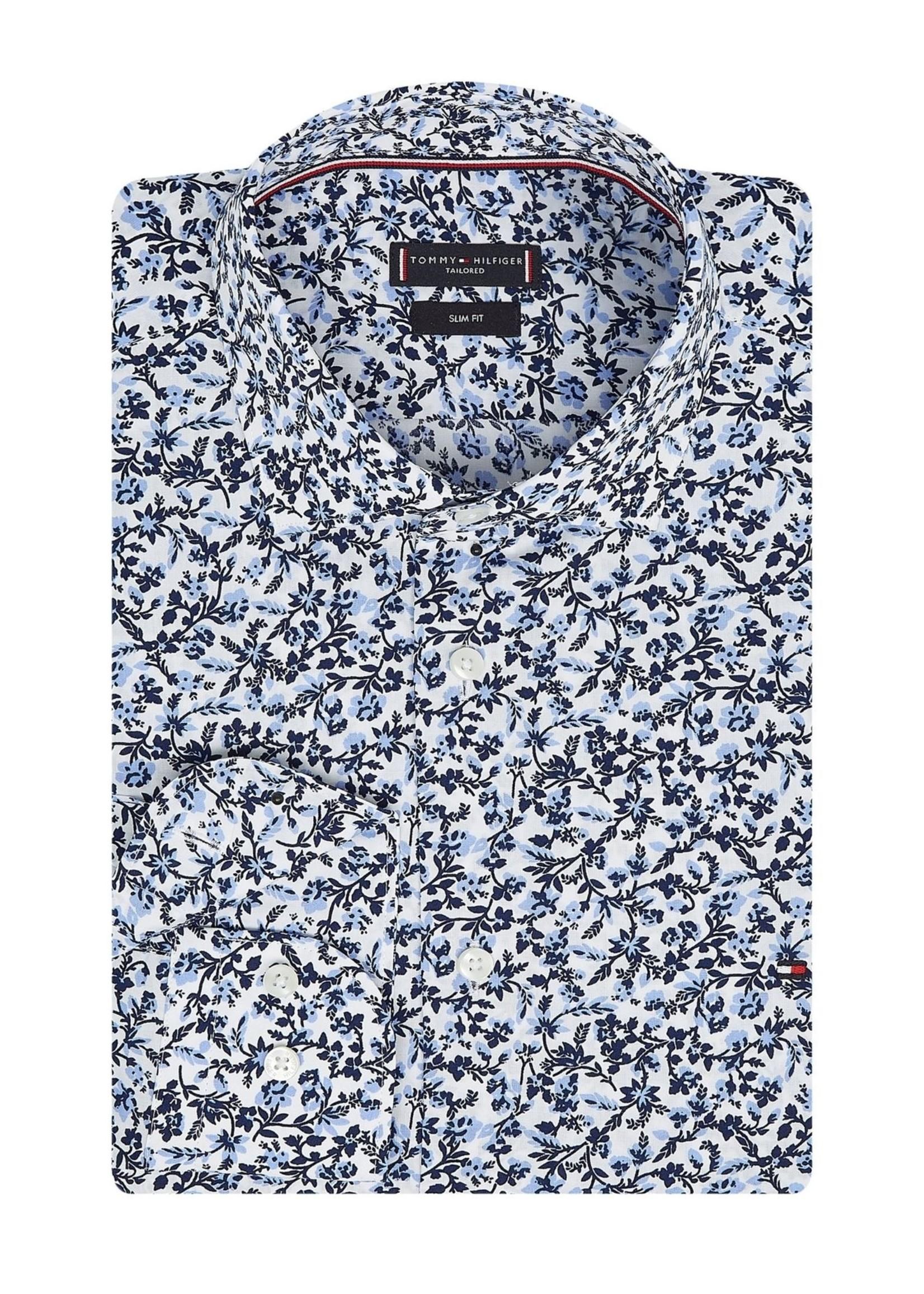 Tommy Hilfiger Large Floral Print Slim Shirt | Bleu clair/Blanc/Marine | Tommy Hilfiger