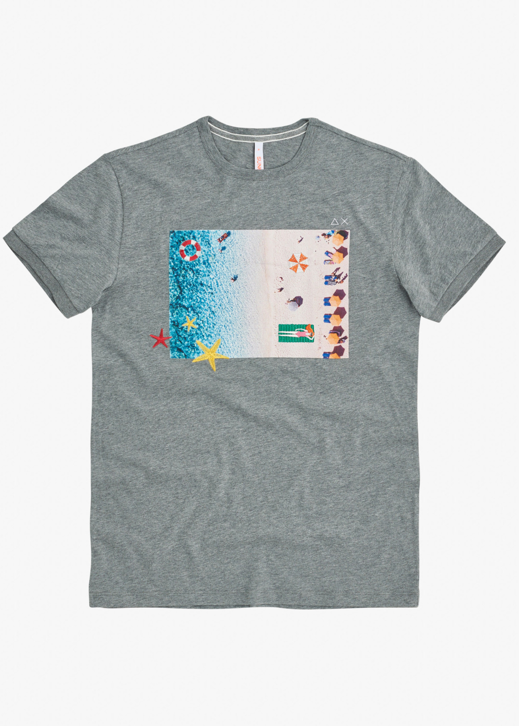SUN68 T-shirt Round Print Photo | Gris | SUN68