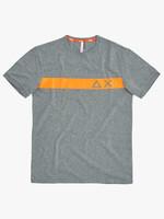 SUN68 T-shirt Round Stripe Fluo On Chest