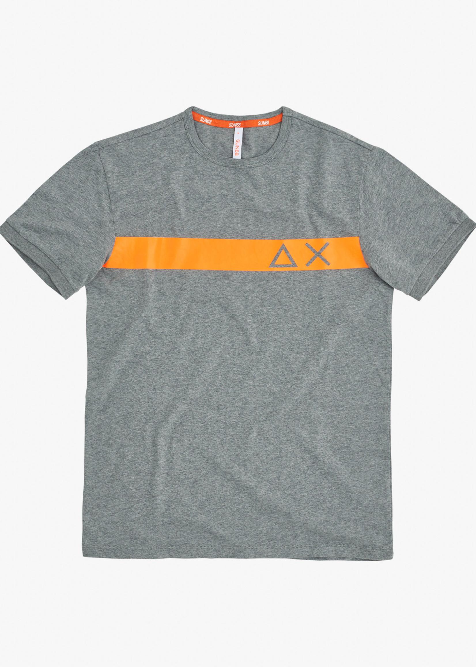 SUN68 T-shirt Round Stripe Fluo On Chest | Gris | SUN68
