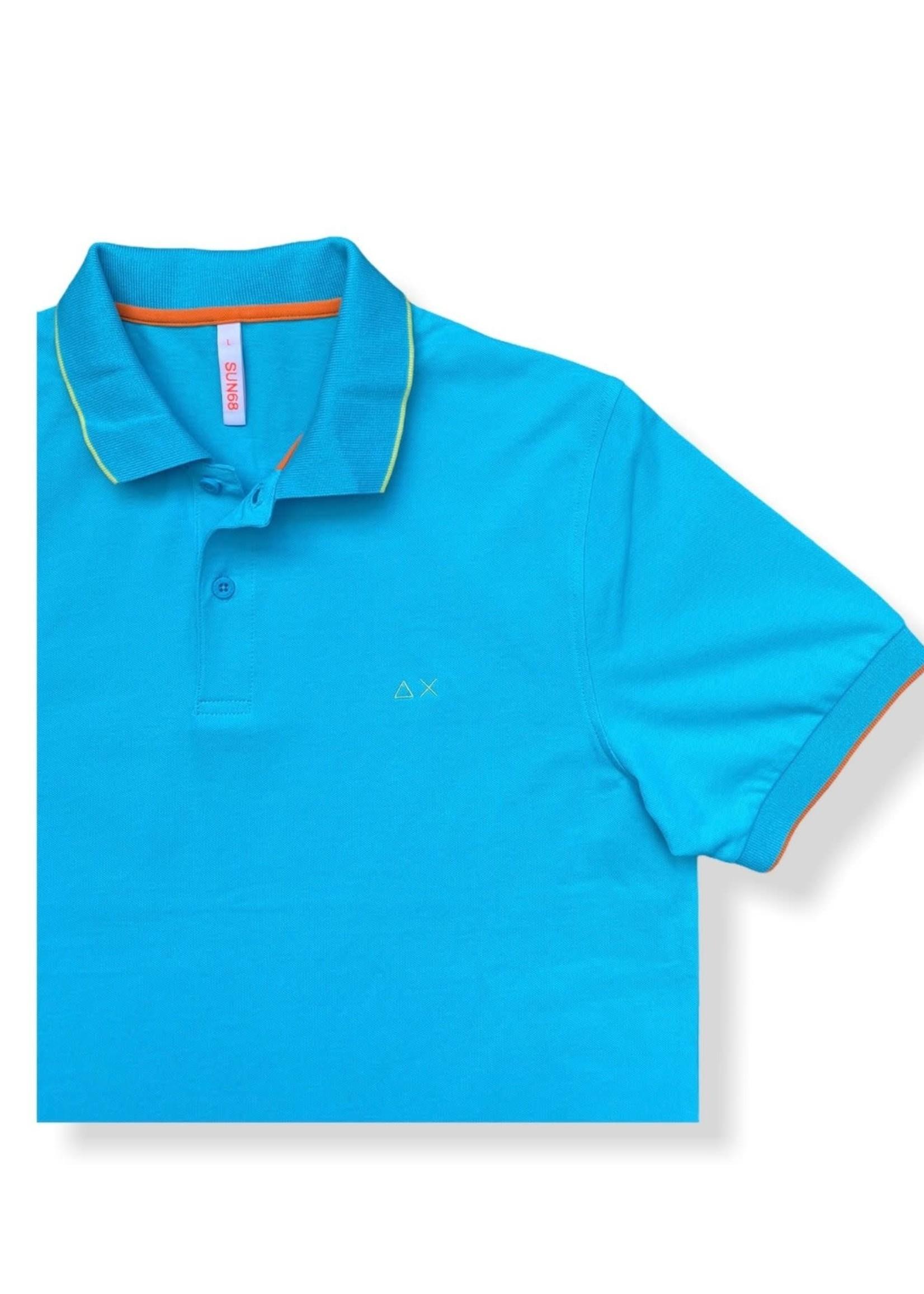 SUN68 Polo Small Stripes On Collar EL. | Turquoise | SUN68
