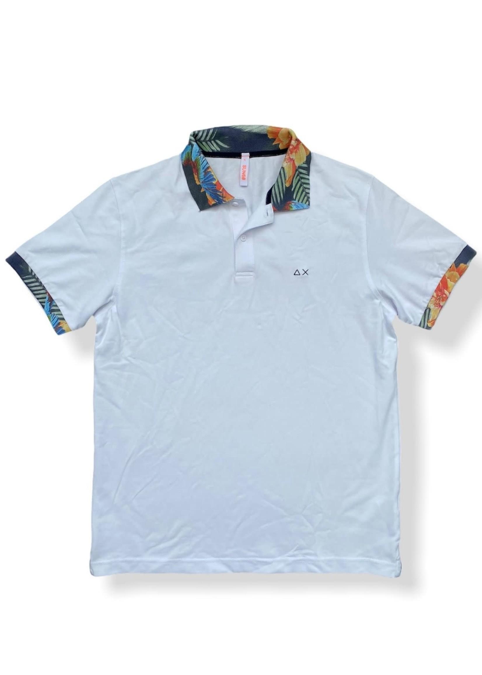 SUN68 Polo Print Collar EL. | Wit | SUN68