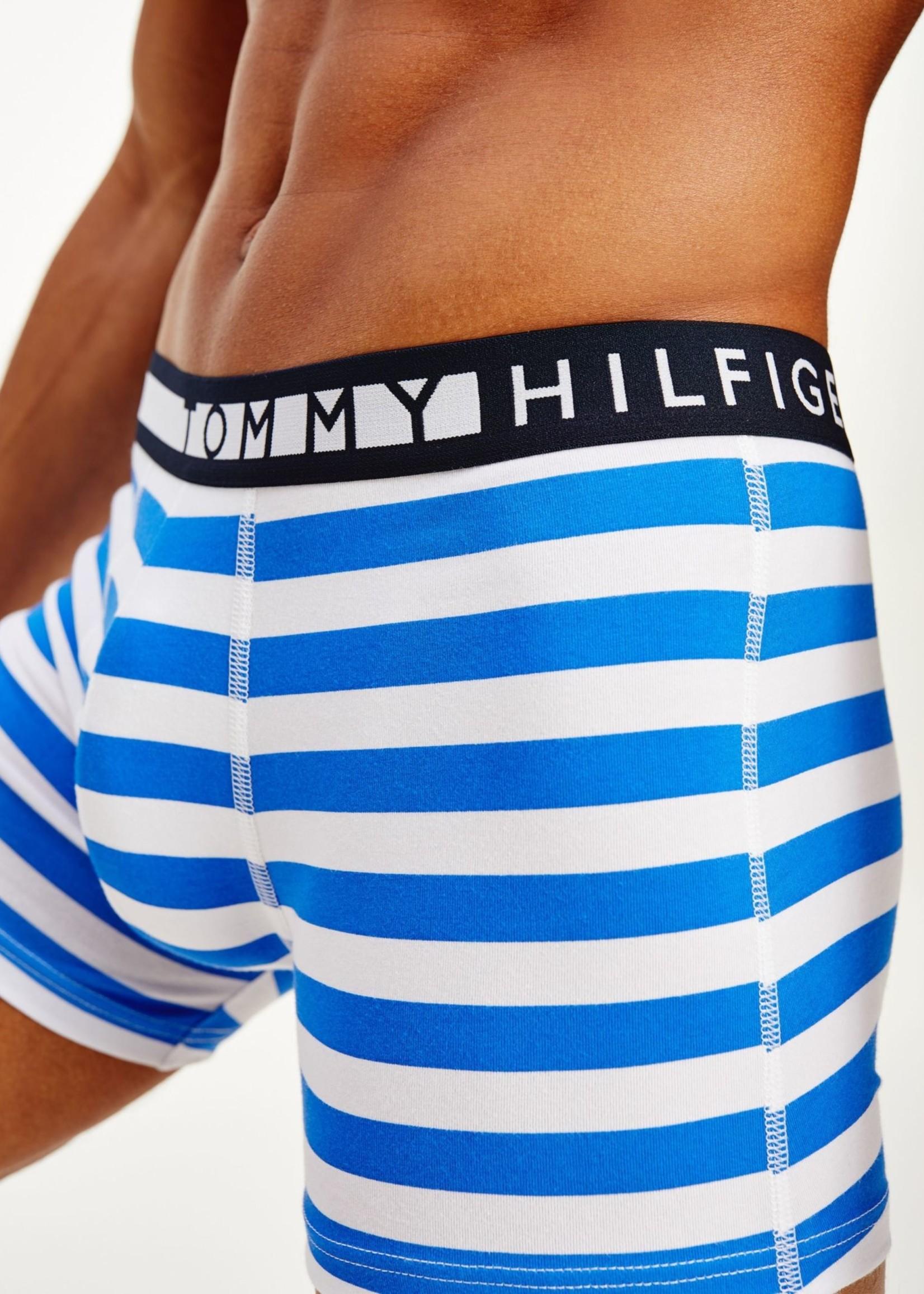 Tommy Hilfiger 3 boxers en coton bio extensible | Bleu marine/Jaune/Ligné bleu | Tommy Hilfiger