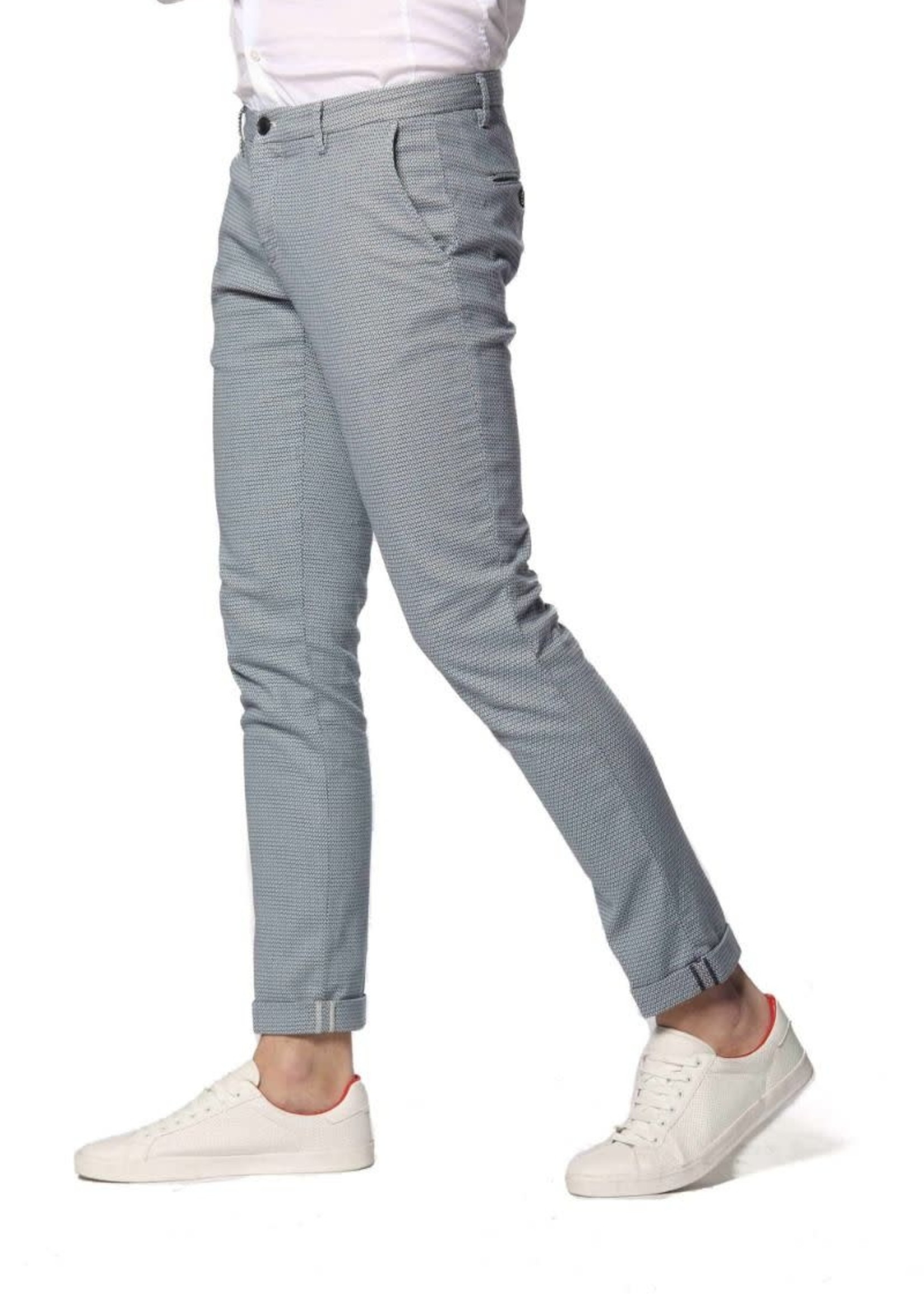 Mason's Extra slim fit bedrukte jacquard broek Milano Style | Blauw | Mason's