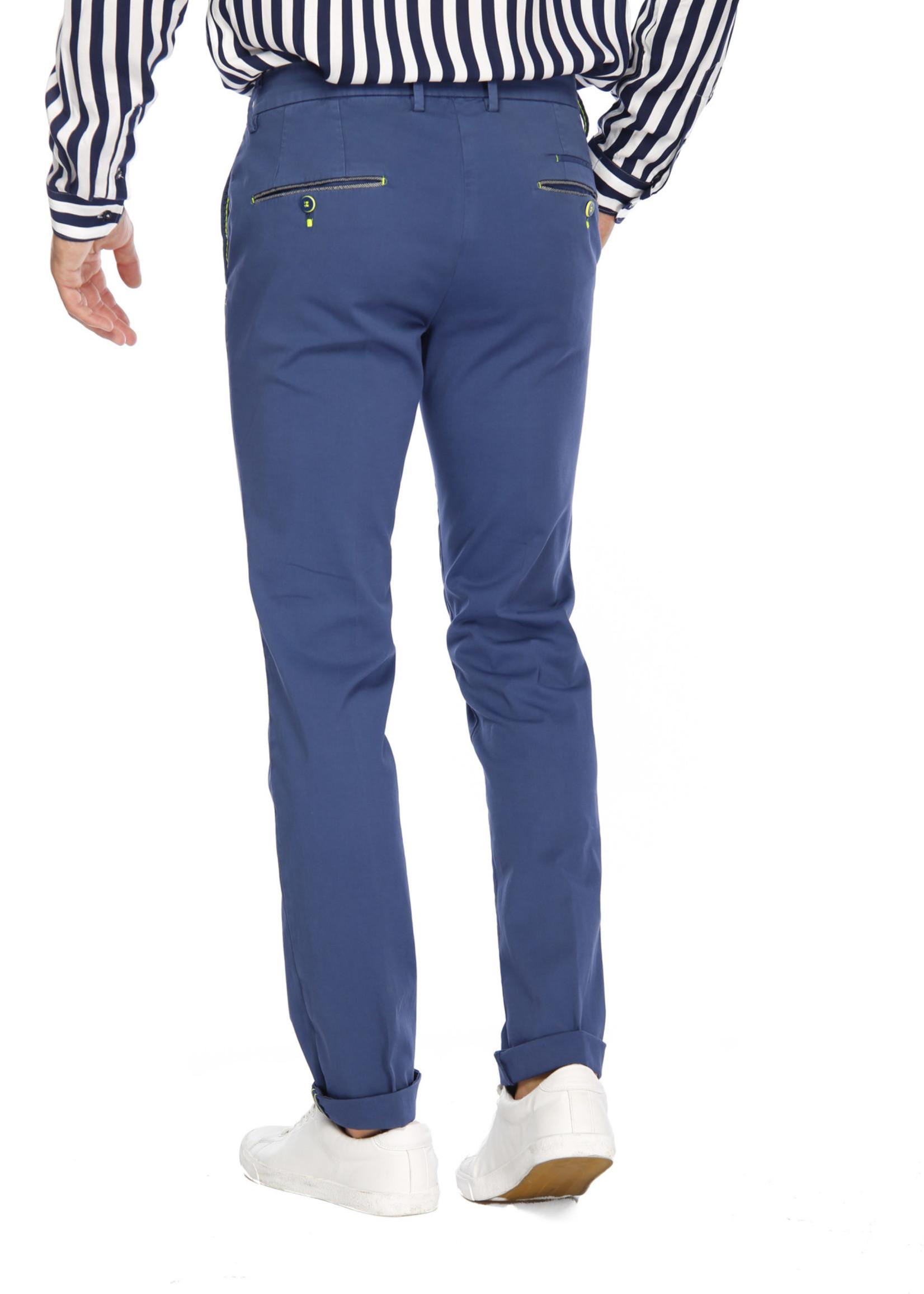 Mason's Broek in stretch satijn en fluo details slim fit Torino Ocean | Blauw indigo | Mason's