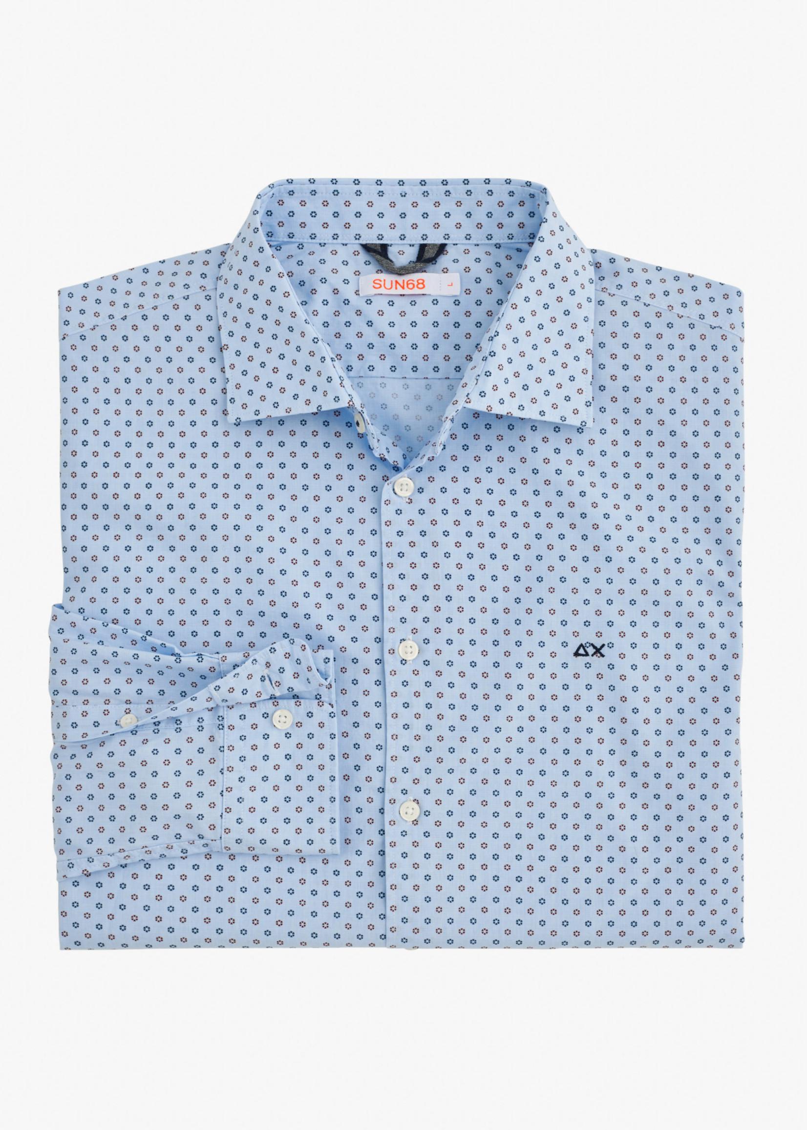 SUN68 Shirt Details French Collar L/S | Blauw/Rood | SUN68