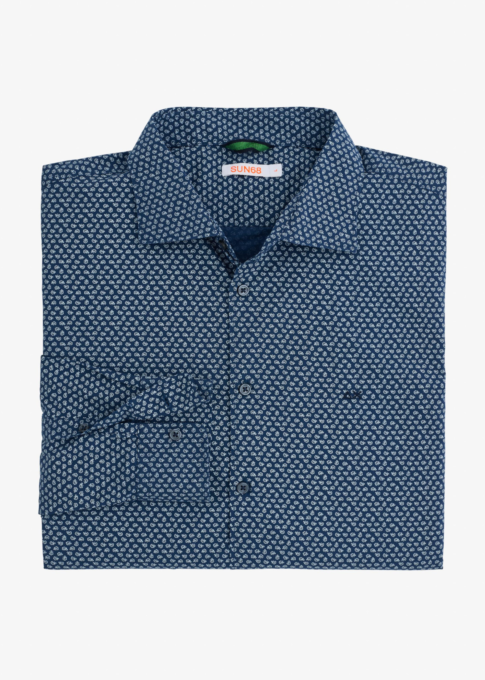 SUN68 Shirt Details French Collar L/S | Blauw/Wit | SUN68