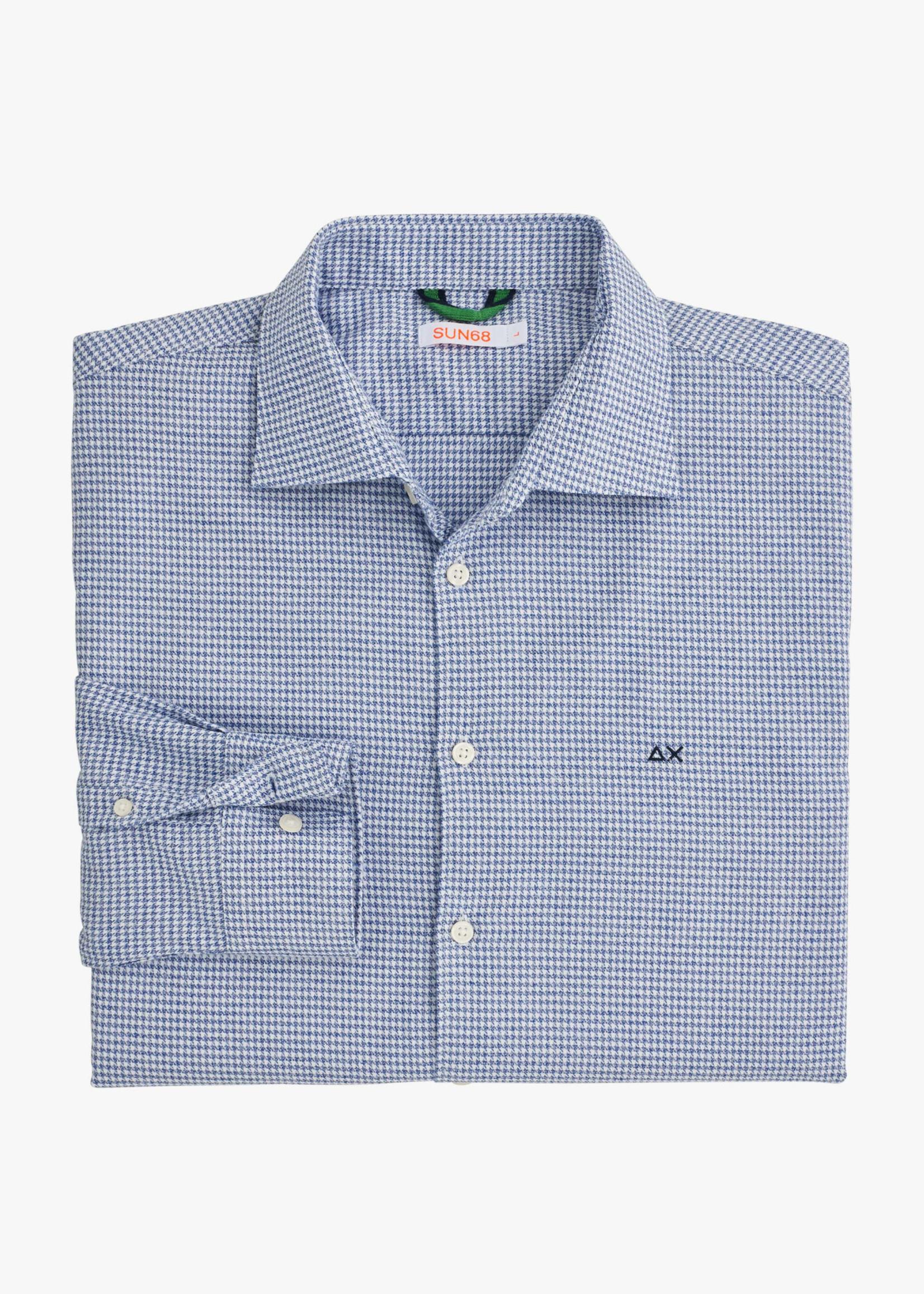 SUN68 Shirt Details French Collar L/S | Bleu Clair | SUN68