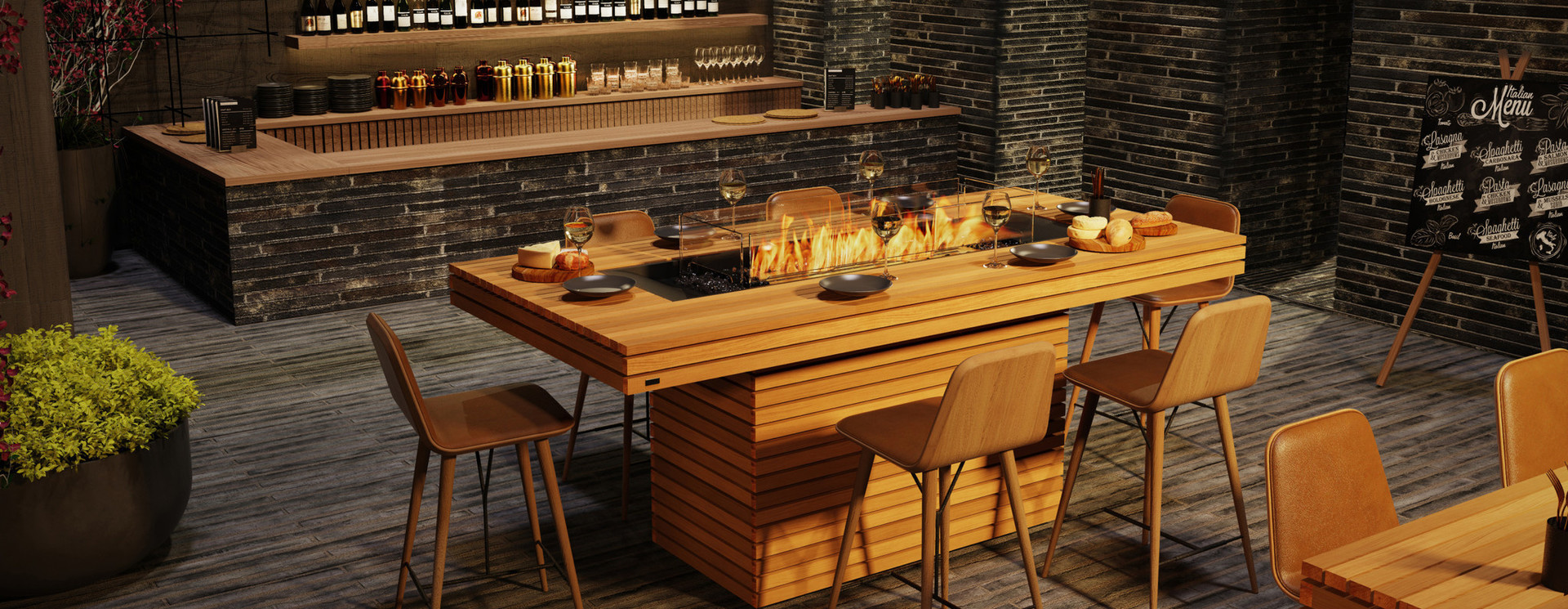 Dining tables with fireplace