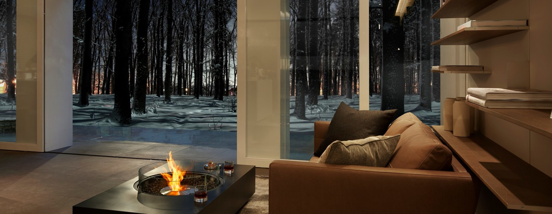 Coffee tables with fireplace