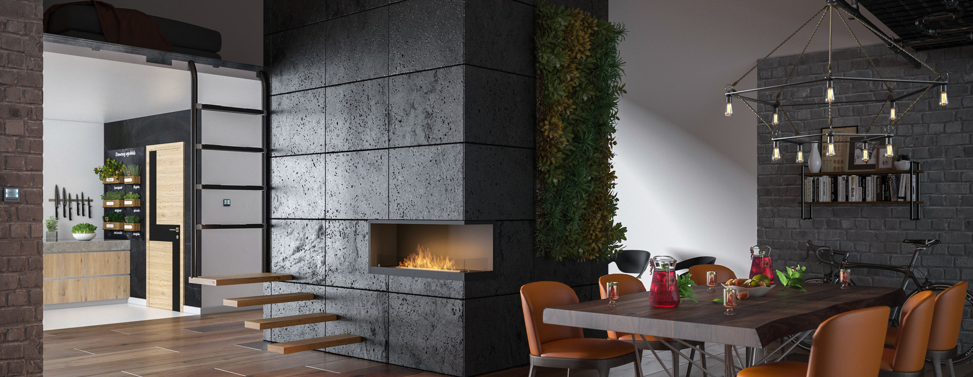 Right-corner fireplaces