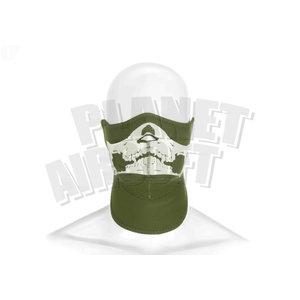 Invader Gear Death Head Neoprene Half Face Protector : Olive Drap