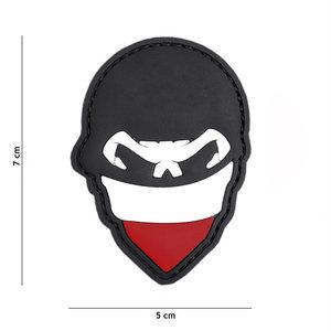 101 Inc. Embleem 3D PVC Polish skull balaclaca rood - 2084