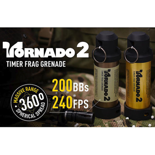 Airsoft Innovations TORNADO 2 Timer Frag Grenade : Dark Earth
