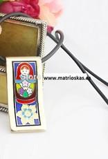 Handicraft matryoshka 18K gold enamel pendant
