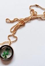 Crowdfunding şanslı dört yapraklı yonca madalyon (gümüş / deri / kristal)