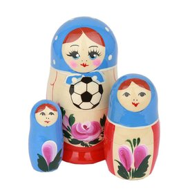 russian Splendor La nostra Coppa del Mondo di calcio Matrioska  (M3-incl Football ca 10-12cm)