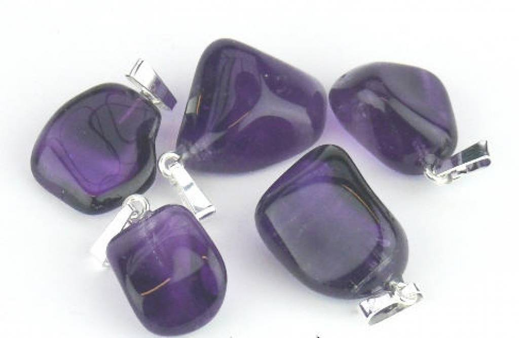 Amethyst with silver pendant, Cartier lock and gift bag