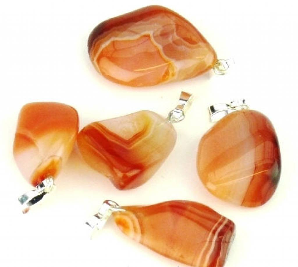 Brazil Agate with silver pendant, Cartier closure and gift bag