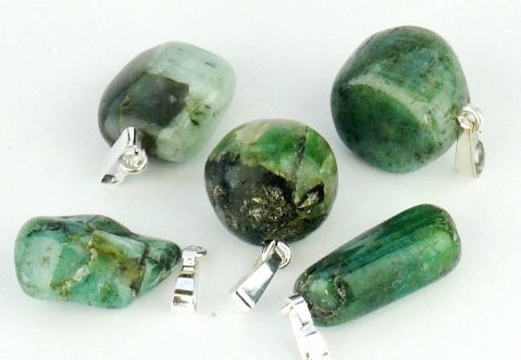 Smaragd met zilveren hanger, Cartier sluiting en kadozakje