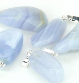 Chalcedony with silver pendant, Cartier closure and gift bag
