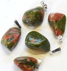 Gümüş kolye, Cartier kapatılması ve hediye çantası ile Unakite