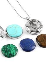 SPLENDOR Ciondolo in argento a medaglione - (Unakita, Goldstein, quarzo, malachite, ametista o lapislazzuli)