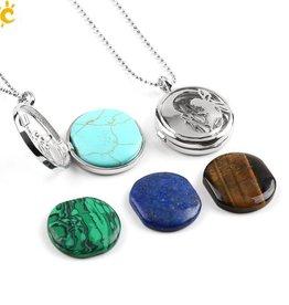 Pendentif médaillon en argent - (Unakita, Goldstein, Quartz, Malachite, Améthyste ou Lapis Lazuli)