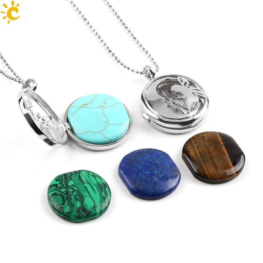 SPLENDOR PenPendentif médaillon en argent - (Unakita, Goldstein, Quartz, Malachite, Améthyste ou Lapis Lazuli)
