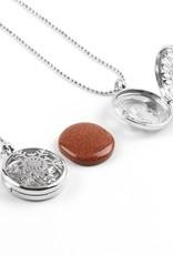 Silbermedaillon-Anhänger - (Unakita, Goldstein, Quarz, Malachit, Amethyst oder Lapislazuli)