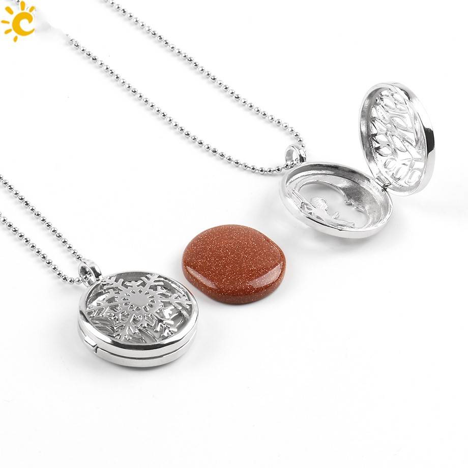 SPLENDOR Sølv Medaljon Vedhæng - (Unakita, Goldstein, Quartz, Malachit, Amethyst eller Lapis Lazuli)