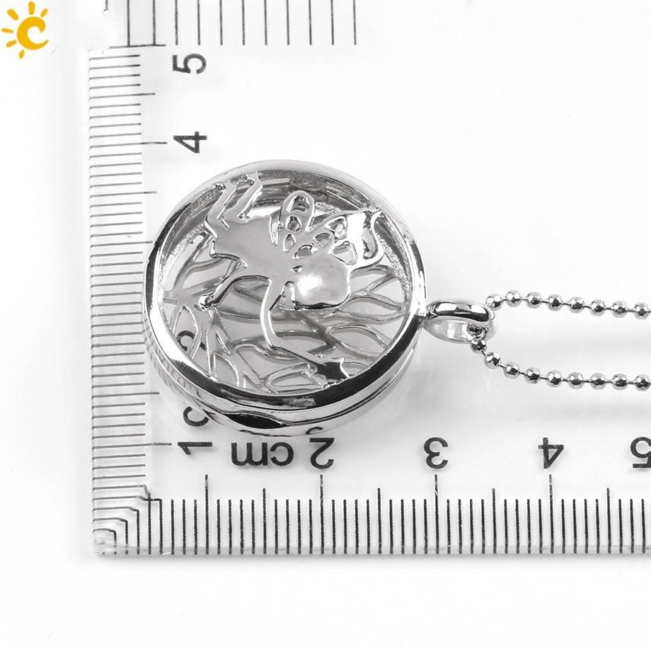 Sølv Medaljong Anheng - (Unakita, Goldstein, Quartz, Malachitt, Amethyst eller Lapis Lazuli)