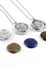 SPLENDOR Zilveren medaillon hanger - (Unakita, gousteen,quarz,malachieT, amethyst ,of , lapizlazuli)