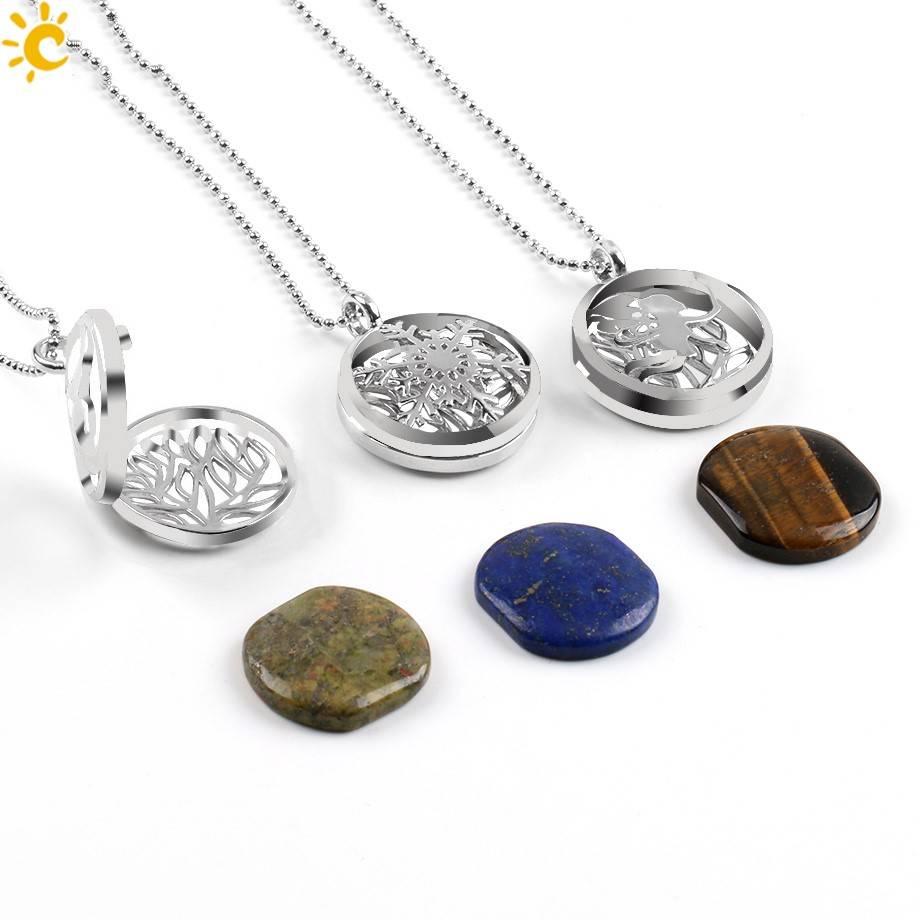 PenPendentif médaillon en argent - (Unakita, Goldstein, Quartz, Malachite, Améthyste ou Lapis Lazuli)