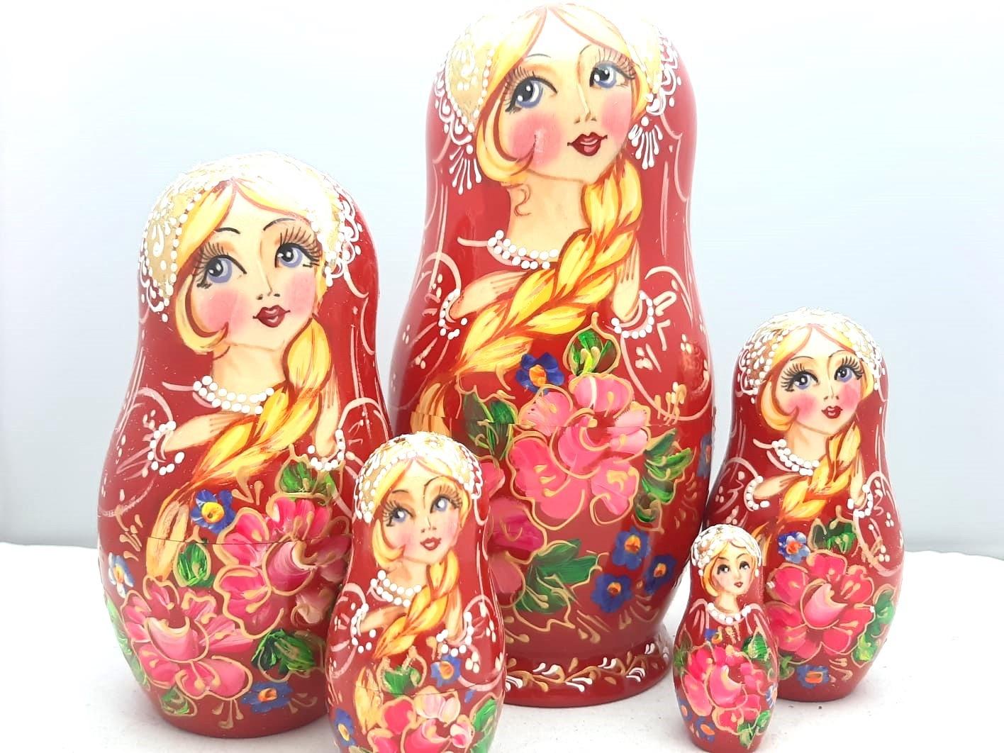 Matroesjka Baboesjka set van 5 stuks , 17 cm hoog