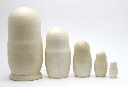 Matrioska Conjunto sin pintar juego de 5 aprox 16 cm