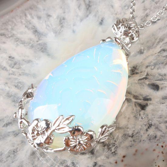 Opal Srebrny wisiorek