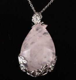 Rose Quartz Silver Pendant
