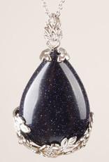 Goldstone Kryształowy Srebrny wisiorek