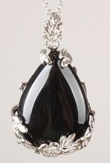 Ónix negro en forma de lágrima con colgante de plata