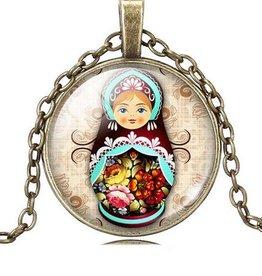 Matryoshkadocka vintage halsband hängande (Crystal brons)