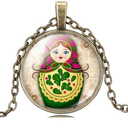 Matryoshka vintage necklace pendant (Crystal Bronze)