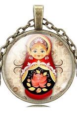 Matrjosjka dukker vintage halskjede anheng (Crystal bronse)