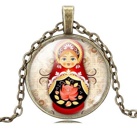 Babushka vintage halskæde vedhæng (Crystal Bronze)