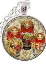 925 sterling sølv anheng med kjede Matrjosjka dukker