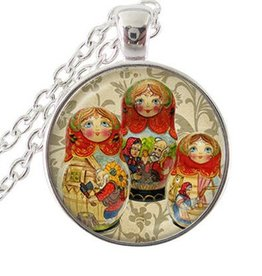 925 sterling silver hänge med kedja matryoshkadocka
