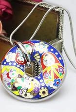 Matriochka 18K émail or faite main donut(Argent avec chaîne d'argent)